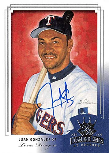 Juan Gonzalez autographed baseball card (Texas Rangers) 2003 Donruss Diamond Kings Crowning Moment #65