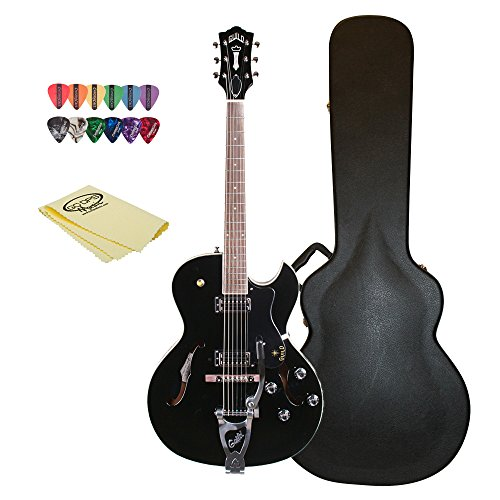 Guild Starfire III with Guild Vibrato Tailpiece Hollow Body Electric Guitar with Case, 12 Pick Sampler & GoDpsMusic Polish Cloth, Black