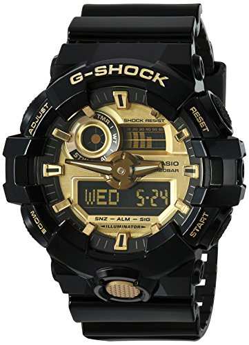 Casio Men's 'G SHOCK' Quartz Resin Casual Watch, Color Black (Model: GA-710GB-1ACR) - Mens Quartz Black Resin