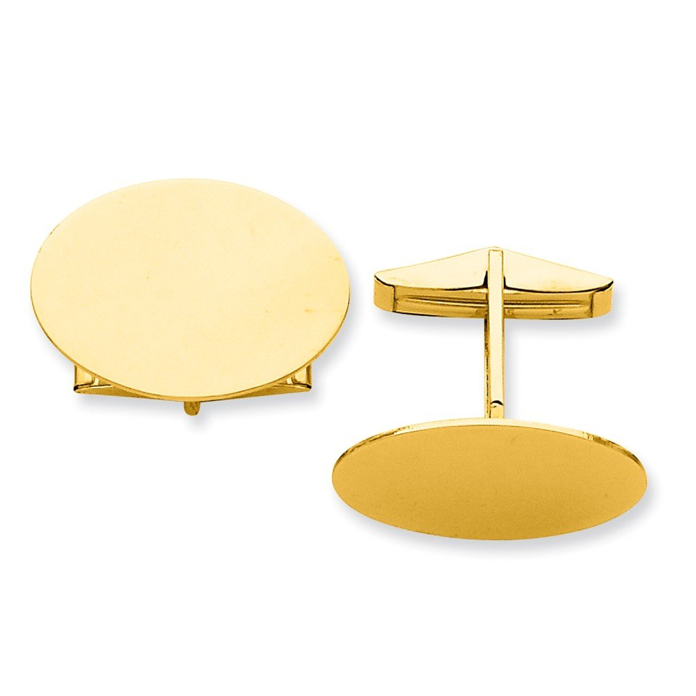 14k Solid Yellow Gold Oval Cuff Links