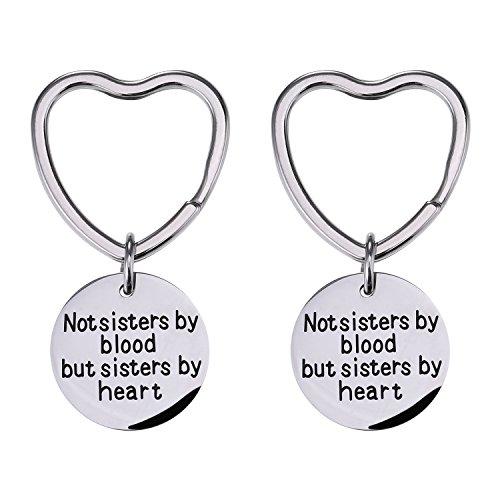 Mtlee 2 Pack Good Friends Keychain Not Sisters By Blood But Sisters By Heart Key Chain Friendship Gift