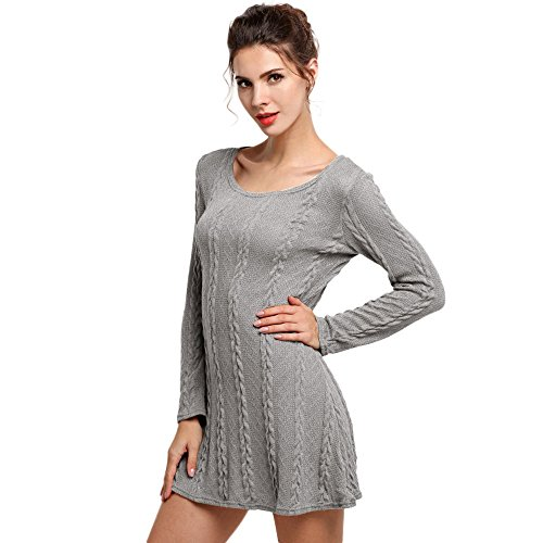 Knitted Slim Gray Skirt Women Buedvo Twist Mini Knee Above Dress Sweater Decor xqx0wAOF
