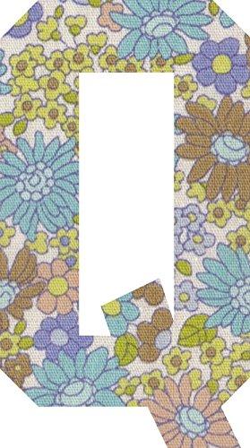 花柄 アップリケ アルファベット Qアイロン接着可能 パープルの商品画像
