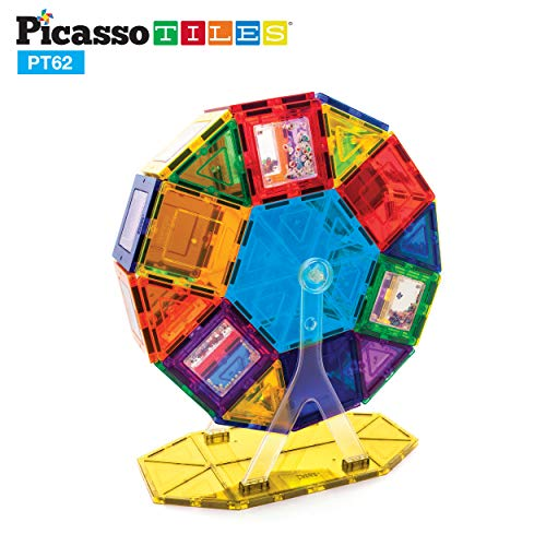 PicassoTiles PT62 Kids Toy Building Block Ferris Wheel Set LED Light Children Construction Kit Magnet ()
