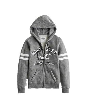 a63fef52266b Hollister New by Abercrombie Women Grey Sweatshirt Graphic Logo Full Zip  Hoodie Medium M  Amazon.co.uk  Clothing