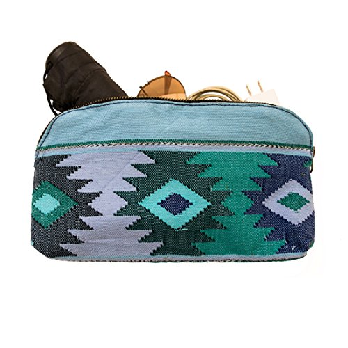 Large Guatemalan Native Comalapa Canvas and Leather All Purpose Dopp Kit Utility Bag (Cords, Chargers, Tools, School / Office Supplies) Handmade by Hi…