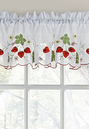 Embroidered Elegance Strawberry Tailored Kitchen Curtain Valance (58