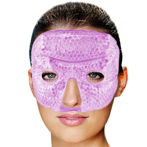 FOMI Hot Cold Gel Bead Facial Eye Mask | Lavender Scented | Ice Mask for Migraine Headache, Stress Relief | Reduces Eyes Puffiness, Dark Circles | Fabric Back | Freezable, Microwavable