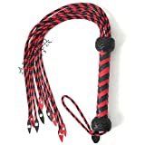 Ardour Crafts Real & Genuine Cow Hide Leather Horse Training Whip Equestrian Crop Red Black