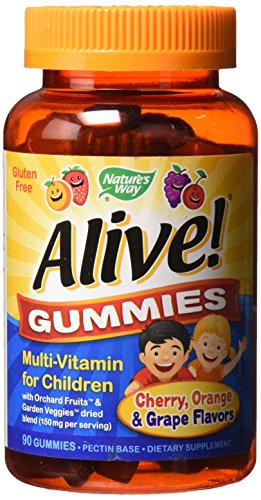 Nature's Way Alive! Children's Premium Gummy Multivitamin, Fruit and Veggie Blend (150mg per Serving), Gluten Free, Made with Pectin, 90 Gummies, Pack of 2