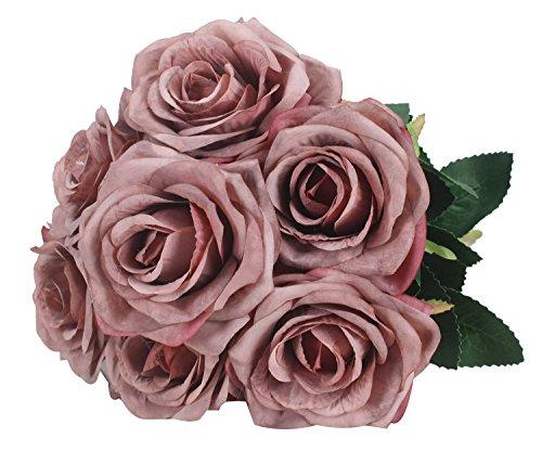 Duovlo 7 Heads Vintage Silk Artificial Flowers Bouquets Plastic Wedding Centerpieces Arrangements Decorations (Grey)