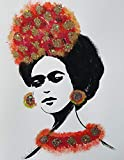 FRIDA KAHLO - RED BOW - Abstract - POP - MEXICAN FOLK ART Style :: ORIGINAL PAINTING - Acrylics and Ink - Modern Painting on Heavy White Paper - SIZE:11''x8.5'' - Signed by the Artist