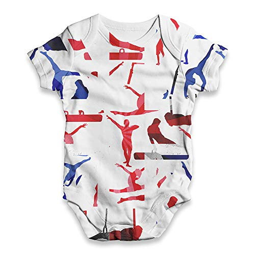 Baby Girl Clothes GB Artistic Gymnastics Collage Baby Unisex ALL-OVER PRINT Baby Grow Bodysuit 3-6 Months White (Gymnastics Artistic Clothing)