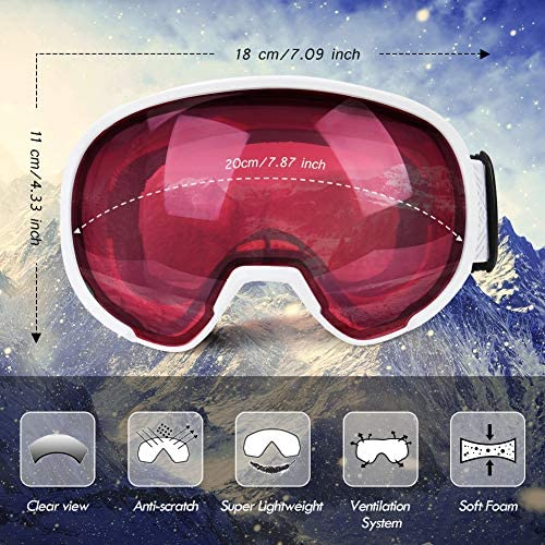 Freehawk Ski Snowboard Goggles Adjustable Anti-Fog UV Protection Winter Snow Sports Goggles Snowmobile Skiing Skating Goggles for Men Women Youth
