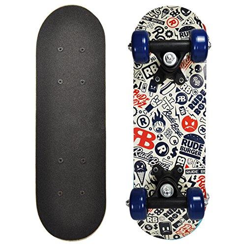 RudeBoyz 17 Inch Mini Wooden Cruiser Graphic Beginner Skateboard (RudeBoyz