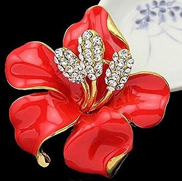 Dosige Femme Broche El/égante Mari/ée Broche de Mariage Fleur de Cristal Clip de Boucle D/écharpe Blanc