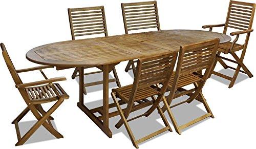 Tavolo Quadrato Allungabile Da Esterno.Set 7 Pz Da Esterno Giardino Tavolo Ovale Allungabile In Legno 170