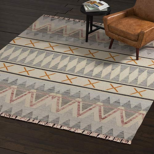 (Rivet Southwestern Geometric Wool Area Rug, 5 x 8 Foot, Blue, Ivory, Yellow)