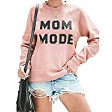Womens Crewneck Sweatshirt Long Sleeve Letter Tops Terry Casual Cute Pullover Pink