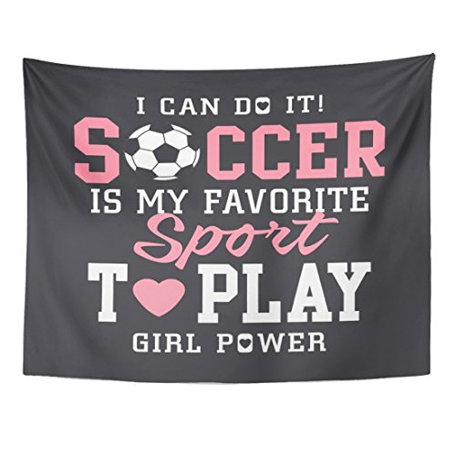 TOMPOP Tapestry Pink Sport Soccer Football Girl Tee Graphics Team Academy Home Decor Wall Hanging for Living Room Bedroom Dorm 60x80 Inches