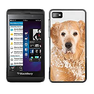VORTEX ACCESSORY Hard Protective Case Skin Cover - golden retriever winter snow white - Blackberry Z10