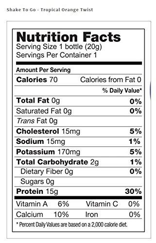 Medi-Weightloss Protein Shake To Go - Tropical Orange Twist Flavor - High Protein (15g) - 70 Calories - For Hunger Control During Diet/Weight Loss - 6 Shakes Per Pack