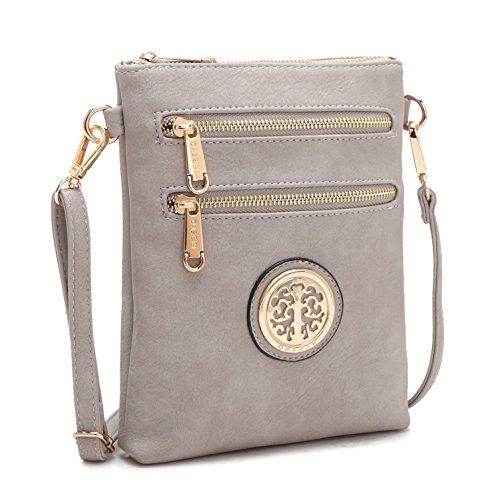 Lady Small Crossbody Bag Purse Lightweight Multi Pocket Shoulder Bag Messenger Bag Faux Leather Grey by MKY