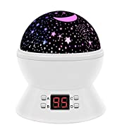 SCOPOW Colorful Constellation Star Sky Kids Night Projector Lamp with LED Timer, Auto-Shut Off and 360 Degree Rotation, White