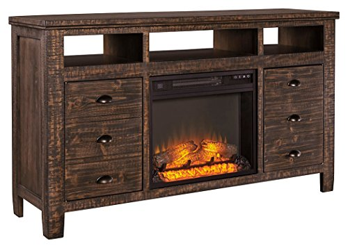 Ashley Furniture Signature Design - Trudell TV Stand with Traditional Log Fireplace Unit Included - Dark Brown - Hardwood Media Storage Unit