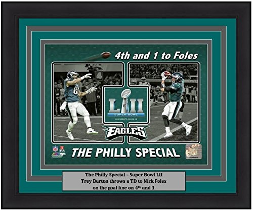"Philadelphia SB 52 Trey Burton/Nick Foles Philly Special Touchdown Collage 8"" x 10"" Framed and Matted Football Photo"