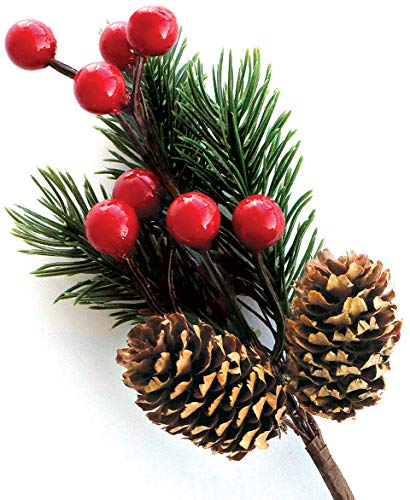 Red Berry Stems Pine Branches Evergreen Berries Décor 8 PCS Discou- Artificial Pine Cones Branch for Christmas Craft Wreath Pick & Winter Holiday Floral Picks Holly Stem for Decoration DIY Xmas Crafts