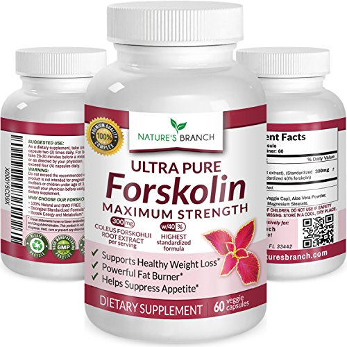 PREMIUM 100% ULTRA PURE Forskolin Extract For Weight Loss MAX STRENGTH w/ 40% Standardized Appetite Suppressant Fat Burner Supplement Belly Buster Fuel with Coleus Root Extract 60 Diet Pills