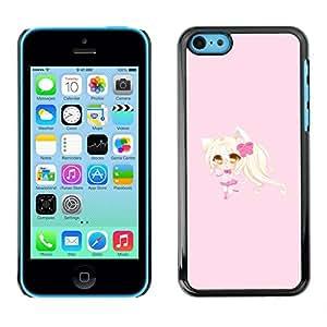 Caucho caso de Shell duro de la cubierta de accesorios de protección BY RAYDREAMMM - Apple iPhone 5C - Blonde Anume Character Cat Ears Girl
