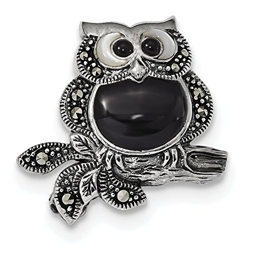 Marcasite and Mother of Pearl Owl Pin in Antiqued 925 Sterling Silver 22x21mm ()