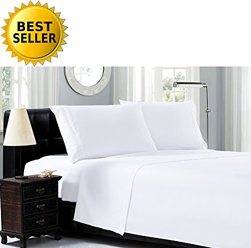 Luxury Bed Sheet Sets on Amazon! Elegant Comfort 1500 Thread Count Egyptian Quality Cable Embroidery 3-Piece Sheet Set Wrinkle-Free 100% Hypoallergenic, Twin, White