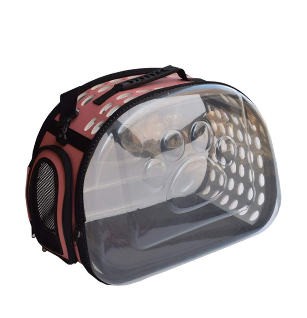 PINK Pet supplies convenient travel bag Pet Backpack Cat And Dog Universal Transparent Foldable Travel Travel Out Bag Transparent Breathable XIAHE