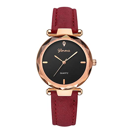 Amazon.com: Fashion Women s Quartz Analog Diamond Wrist Watch Leather Band Geneva Watches Outsta for Women Girls Gift Present (Black): Clothing
