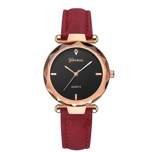 BBestseller Moda Relojes para Mujer, Cuero PU Acero Reloj de Ginebra Relojes de Pulsera Accesorios de Moda Watches (Rojo): Amazon.es: Relojes