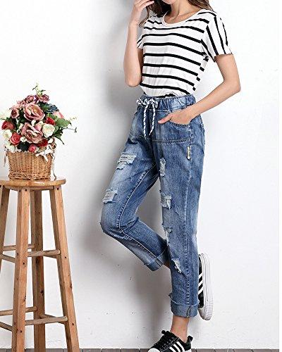 Azzurro Baggy Larghi Buco Denim Pantaloni Donne Stile Jeans BXwqx0Pn8f