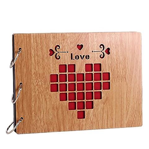 11 x 8 inch DIY Wood Cover Photo Album Self Adhensive Black Cards Scrapbook Album,30 Sheets (Love) - Wood Photo Album Book