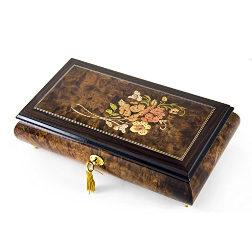 Gentle Roses with Rosewood Frame Musical Jewelry Box - Love is Here to Stay by MusicBoxAttic