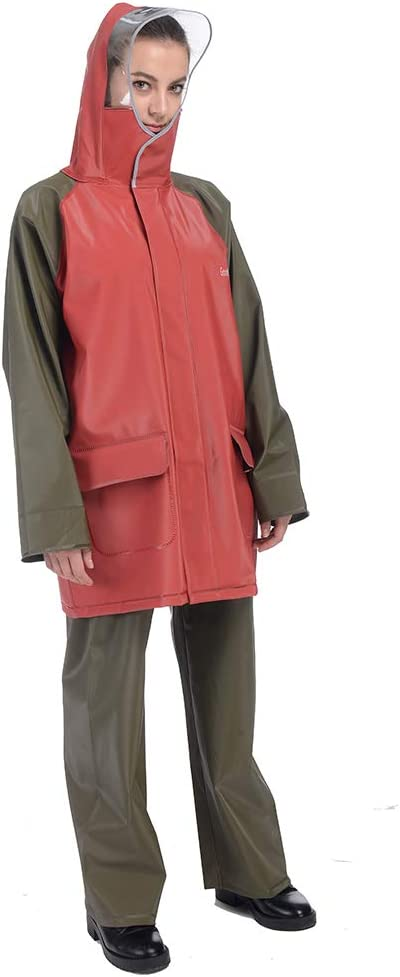 Large 6, 185lb~215lb , Red GontMear Deluxe Rain Suit for Men Women Heavy Duty Workwear Waterproof Jacket and Pants 3 Pieces