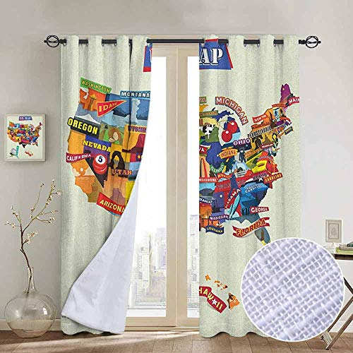 NUOMANAN Blackout Curtains Wanderlust,US Map Seashore and Sunflowers Tourist Attractions Jersey Cow Milk Corn Field, Multicolor,Insulating Room Darkening Blackout Drapes for Bedroom 84