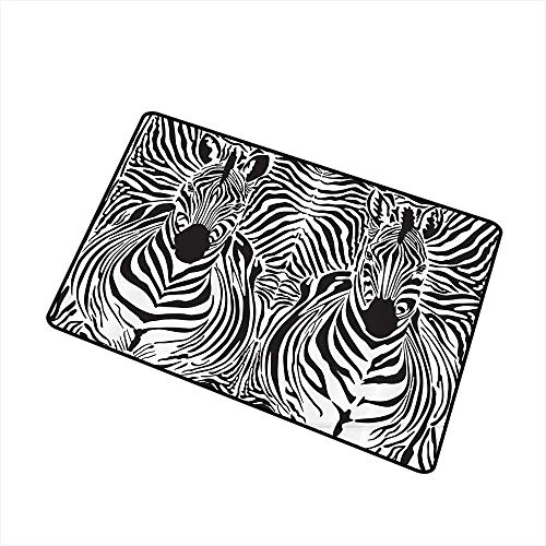 (Door mat Zebra Print Decor Illustration Pattern Zebras Skins Background Blended Over Zebra Body Heads W35 xL47 Machine wash/Non-Slip Black White)
