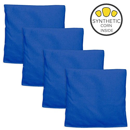 Play Platoon Weatherproof Duck Cloth Cornhole Bags - Set of 4 Blue Bean Bags for Corn Hole Game - Made with Corn-Shaped Synthetic Corn