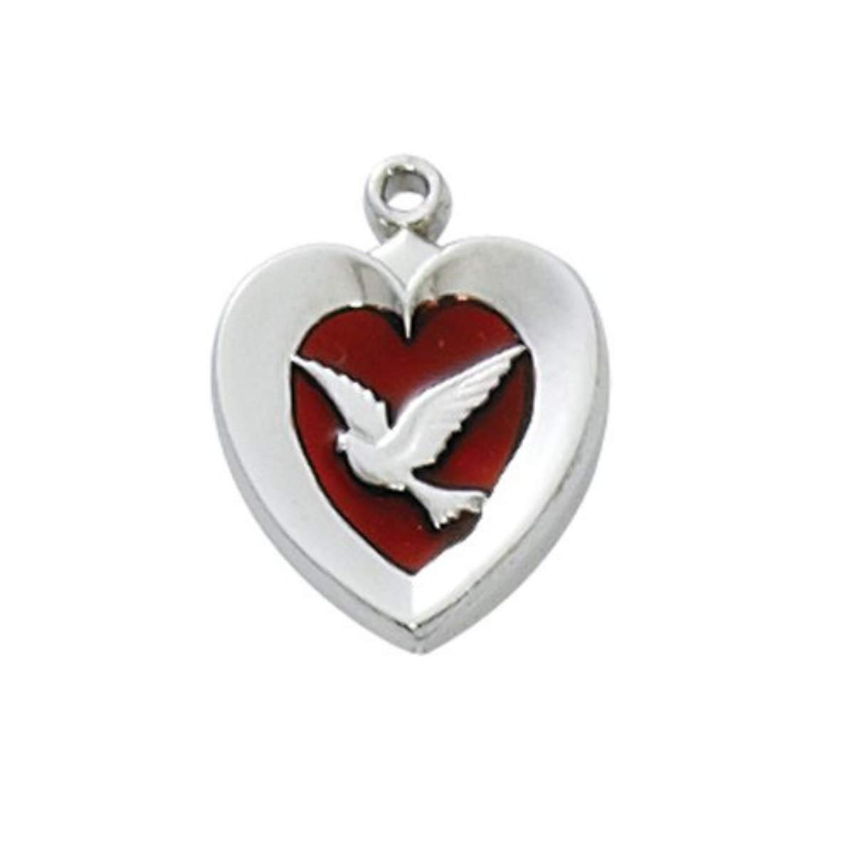McVan Silver Tone 1//2-inch Holy Dove Heart Shaped Red Enameled Pendant