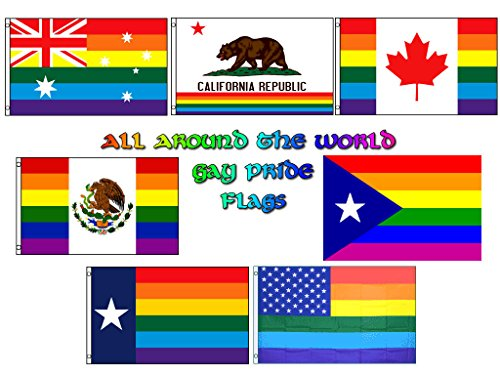 Wholesale Lot of 7 All Around The World Gay Pride Rainbow LGBT Flags Australia, California, Canada, Mexico, Puerto Rico, Texas and USA 3'x5' Polyester Flags