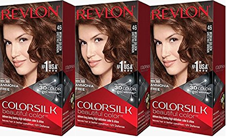 Revlon Colorsilk Beautiful Color, Medium Golden Chestnut Brown, 3 Count
