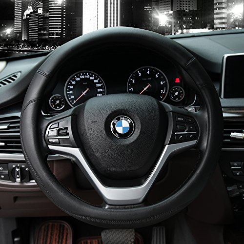 Leather Black Cover (Microfiber Leather Steering Wheel Covers Universal 15 inch (Black))