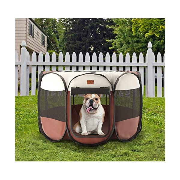 Home Intuition Portable Foldable Pet Playpen Exercise Kennel for Dogs and Cats with Removable Sun Shade, Small Click on image for further info. 7